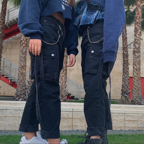 LF Pants - Black LF Carmar Jeans with straps